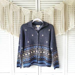 TALBOTS Gray Button Patterned Merino Wool Sweater